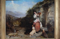 feeding time - a girl at the door of a highland bothy feeding four terriers by james john, edward john cobett and thomas earl hill