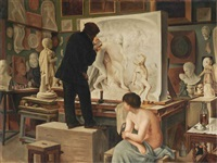 my father's studio by édouard joseph dantan
