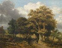 woodland path with figures and dog by james stark