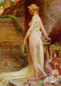 a female nude in an interior by sigmund vajda