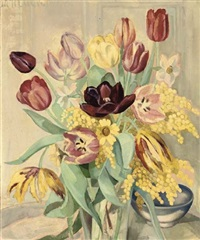 still life with tulips by lydia dmitrievsky