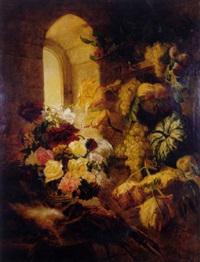 fruits, pampres de vigne, vase de fleurs, lièvre et faisan by simon saint-jean
