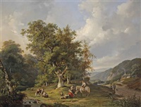 a wooded landscape with figures resting near a stream by frans breuhaus de groot
