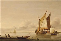 shipping in calm waters with fishermen pulling in a boat by jan van os