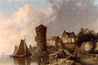 a dutch harbour scene by simon van der ley