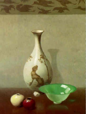 Still Life With Oriental Vases And Bowl By Harry Willson Watrous On