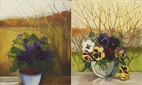 two floral still-lifes by lydia dmitrievsky
