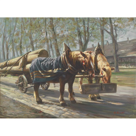 rast am langholzwagen horse team by hans nickel