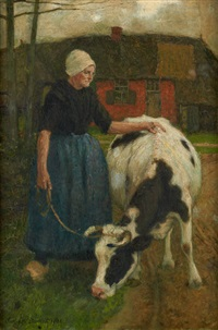 fermière et sa vache by charles william bartlett