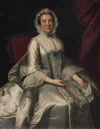 portrait of a lady, seated, three-quarter length, in a white dress with blue ribbons, holding a fan by thomas hudson