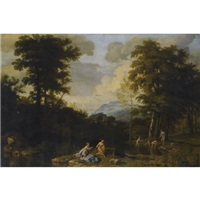 a classical landscape with figures by johannes (jan) glauber