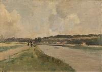 paysage à la rivière animé de personnages by raymond allègre
