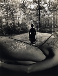 composite depicting a male figure standing in a body of water and a female figure below by jerry uelsmann