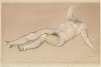 recling male nude by john koch