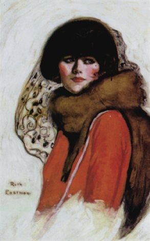 woman wearing fur and red jacket by ruth eastman
