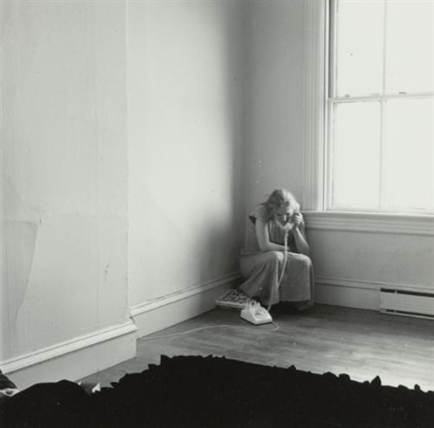 untitled providence rhode island self portrait on the telephone by francesca woodman