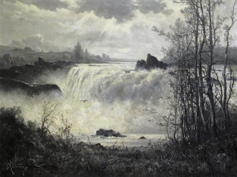 rushing waterfall by constant auguste de l aubiniere