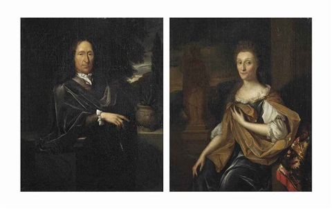 portrait of adriaan de lange 1633 1693 portrait of margaretha bonser 1629 1711 pair by pieter van der werff