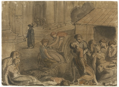 Pestilence, probably the great plague of London by William Blake ...