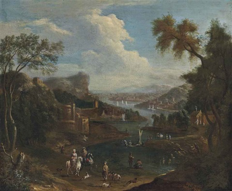 a river landscape with travellers on a bank figures on boats and a settlement beyond by mathys schoevaerdts