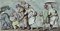 off to midnight mass by thomas rowlandson