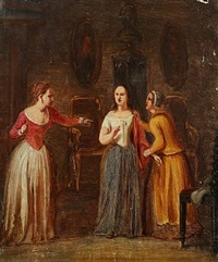 interior with leonora christine and chambermaids by edvard lehmann