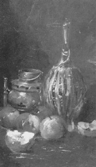still life with chianti bottle and apples by george charles aid