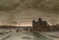 romantische winterlandschaft by caesar bimmermann