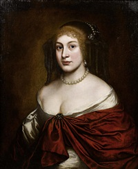 portrait of a lady in a white silk dress, a red wrap and a pearl headdress by pieter nason