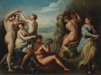reizvolle szenerie mit figuren aus bibel und mythologie by hans von aachen