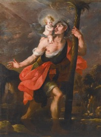 saint christopher carrying the christ child by mateo cerezo