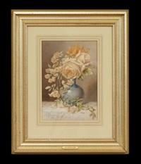 floral still life in blue vase by jean-baptiste robie