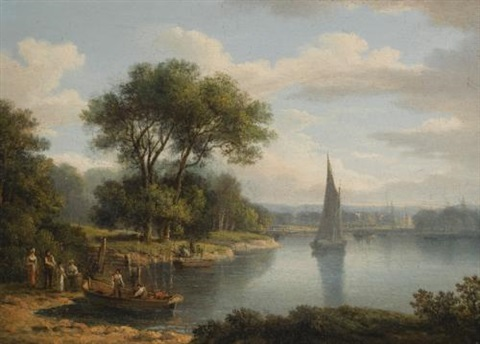 a view of richmond bridge and a highland landscape with a castle by a lake shore pair by jane nasmyth