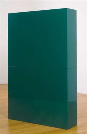 green slab in two parts in 2 parts by john mccracken