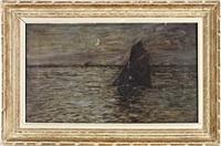 bateaux de pêche au clair de lune by maurice françois auguste courant