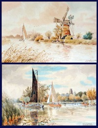 irstead mill on the ant (+ ranworth dyke, smllr; 2 works) by william leslie rackham