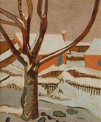 winterscene with houses by erwin henning