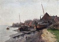 bateau de pêcheur échoué près d'un village au bord de l'escaut by frans van damme