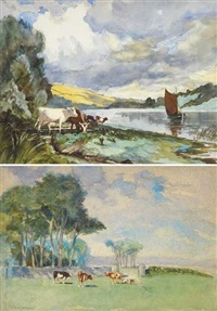 river slaney; wexford on the right, waterford on the left (+ scene on the howth head, dublin; 2 works) by henry william moss
