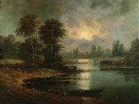 woodland by moonlight by aleksandr vasil'evich gine