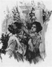 women talking in columned garden by patrick j. monahan