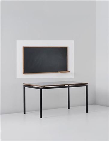 blackboard with chalk holder, designed for la chambres d'etudiant de la maison du brésil, cité internationale universitaire de paris by le corbusier