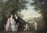 group portrait of a family in an extensive landscape by françois joseph wachsmuth