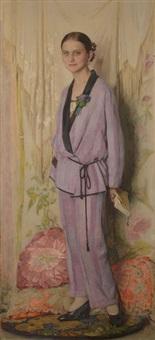la femme en kimono mauve by gustave valerian