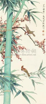梅竹双雀 (flowers and birds) by deng bai