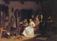 jan six in het atelier van rembrandt by lambertus lingeman