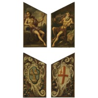 door panels depicting neptune and amphitrite (verso; pair) by sir james thornhill