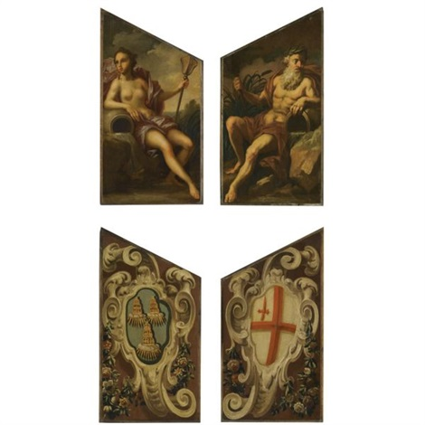 door panels depicting neptune and amphitrite verso pair by sir james thornhill