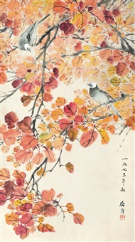红叶白头 (birds and red leaves) by qu zhen