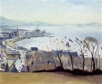 view over largs by norman edgar